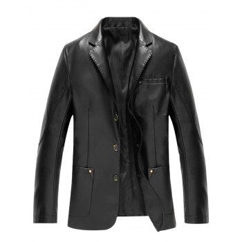 Pocket Single Breasted Faux Leather Blazer - BLACK BLACK