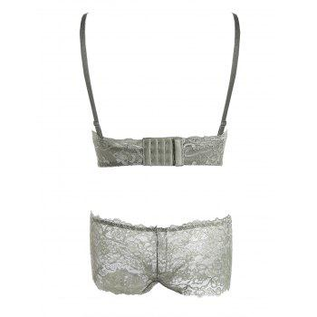 Lace Criss Cross Back Bra Set - ARMY GREEN ARMY GREEN