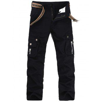 Casual Zip Fly Flap Pockets Cargo Pants - BLACK BLACK