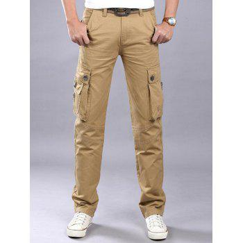 Casual Zip Fly Flap Pockets Cargo Pants - KHAKI KHAKI