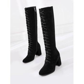 Lace Up Chunky Heel Knee High Boots - BLACK 36