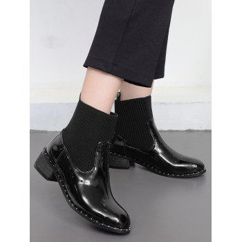 Rivets Low Heel Splicing Ankle Boots - BLACK 38