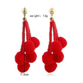 Beaded Chain Colorful Fuzzy Ball Drop Earrings -  RED