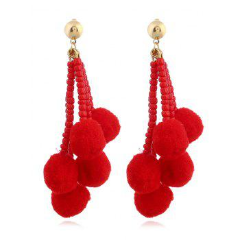 Beaded Chain Colorful Fuzzy Ball Drop Earrings - RED RED