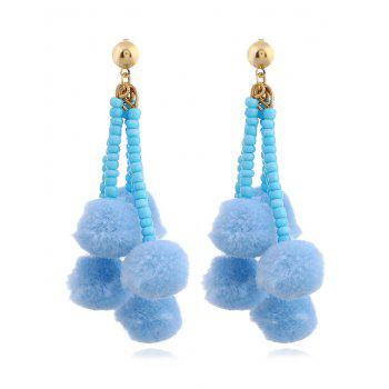 Beaded Chain Colorful Fuzzy Ball Drop Earrings - BLUE BLUE