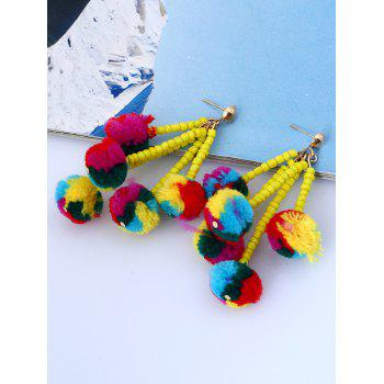 Beaded Chain Colorful Fuzzy Ball Drop Earrings - COLORMIX