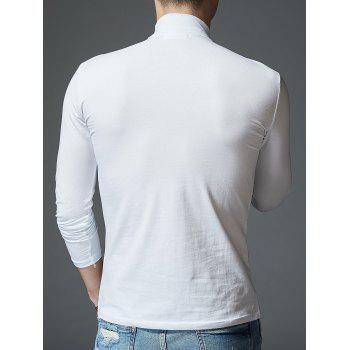 Stretch Mock Neck Long Sleeve T-shirt - WHITE L