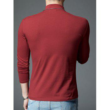 Stretch Mock Neck Long Sleeve T-shirt - RED L