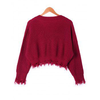 V Neck Distressed Hem Sweater - WINE RED XL