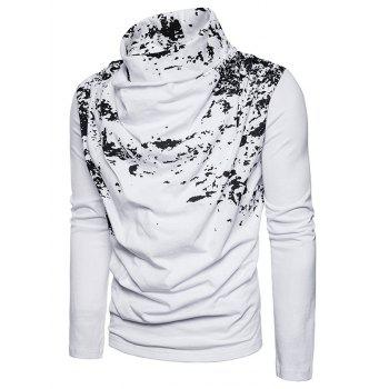 Cowl Neck Splatter Paint Pleat T-shirt - Blanc XL