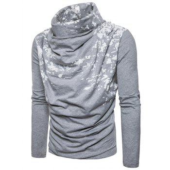 Cowl Neck Splatter Paint Pleat T-shirt - Gris Clair XL