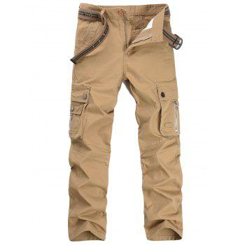 Casual Zip Fly Flap Pockets Cargo Pants - KHAKI 32
