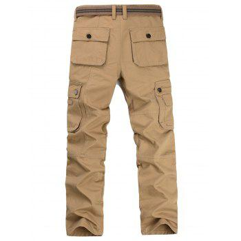 Casual Zip Fly Flap Pockets Cargo Pants - Kaki 36