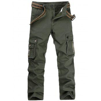 Casual Zip Fly Flap Pockets Cargo Pants - ARMY GREEN 40