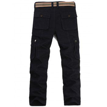 Casual Zip Fly Flap Pockets Cargo Pants - Noir 36