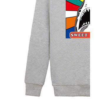 Cartoon Print Shark Graphic Sweatshirt - GRAY L
