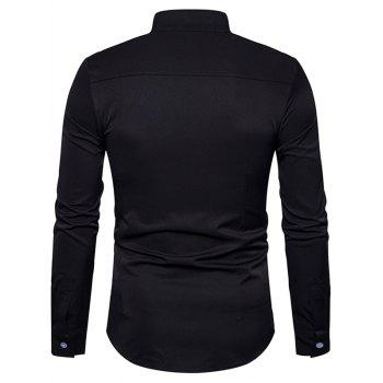 Stand Collar Oblique Buttons Shirt - BLACK M