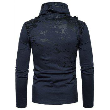 Cowl Neck Splatter Paint Pleat T-shirt - Cadetblue M