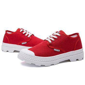 Lace Up Letter Canvas Skate Shoes - RED 42