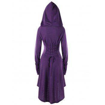Lace Up Hooded High Low Dress - PURPLE 2XL