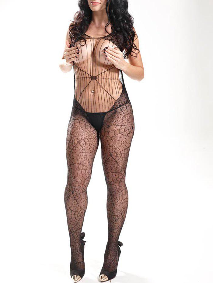 Spider Web Fishnet Bodystockings - Noir ONE SIZE