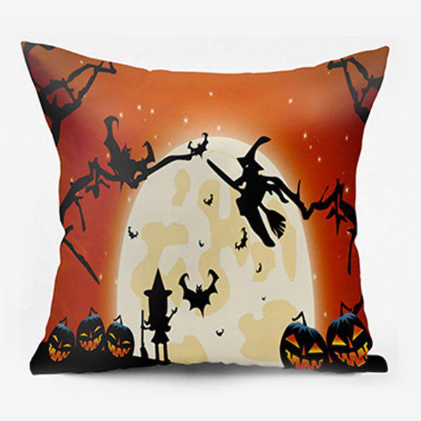 Halloween Witch Jack O Lantern Moon Pillow Case - ORANGE W26 INCH * L26 INCH