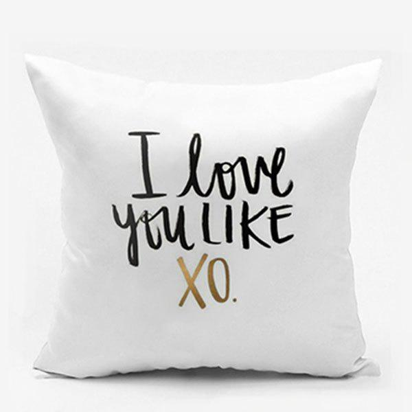 Letter Print I Love You Like XO Square Pillowcase - WHITE W26 INCH * L26 INCH