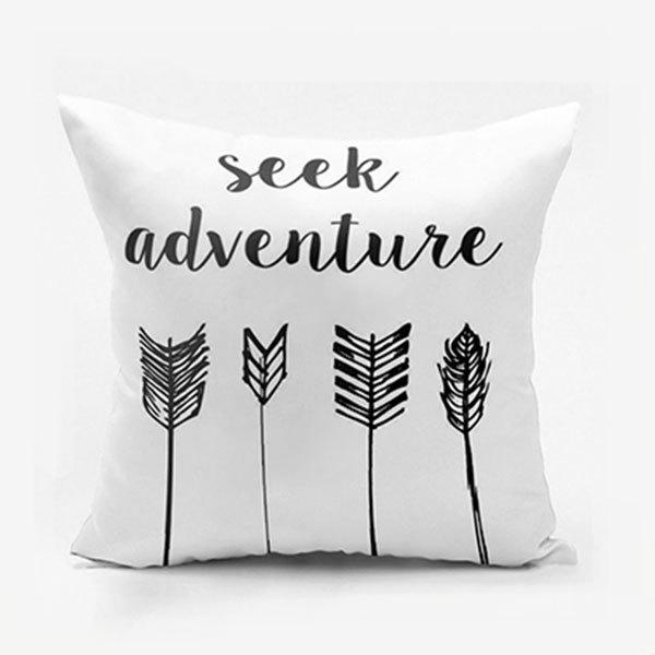 Seek Adventure Print Arrow Square Pillow Case - WHITE W18 INCH * L18 INCH