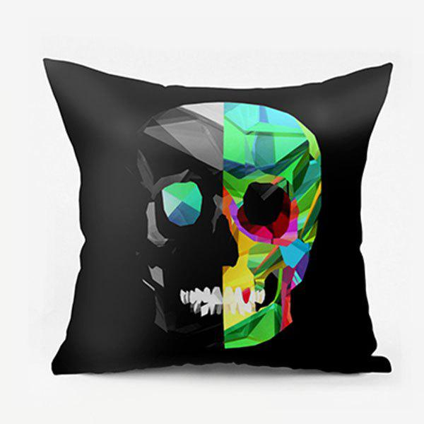 Novelty Skull Pattern Square Pillowcase - BLACK W22 INCH * L22 INCH