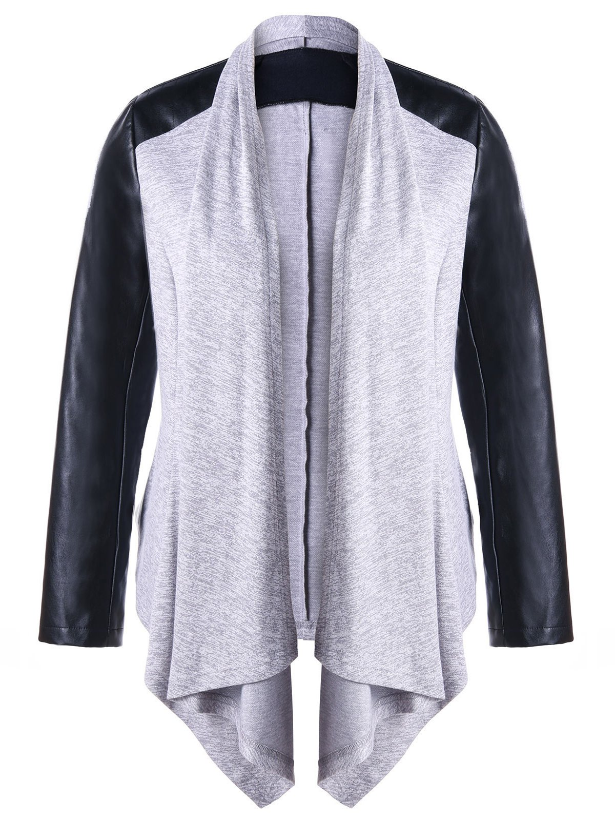Faux Leather Raglan Sleeve Plus Size Coat - GRAY 3XL