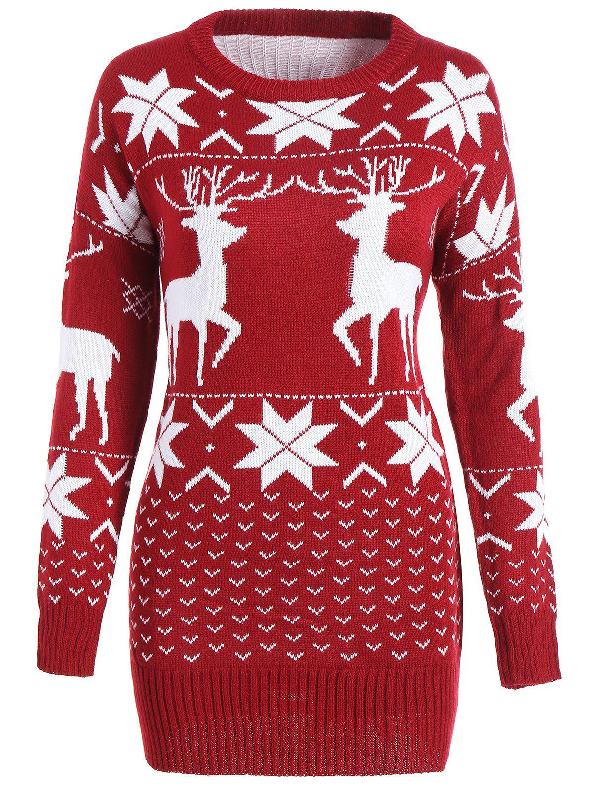 2018 Maple Leaf Deer Tunic Christmas Sweater WINE RED ONE SIZE In ...