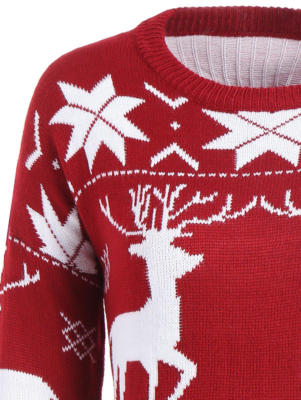 Maple Leaf Deer Tunic Christmas Sweater - WINE RED ONE SIZE