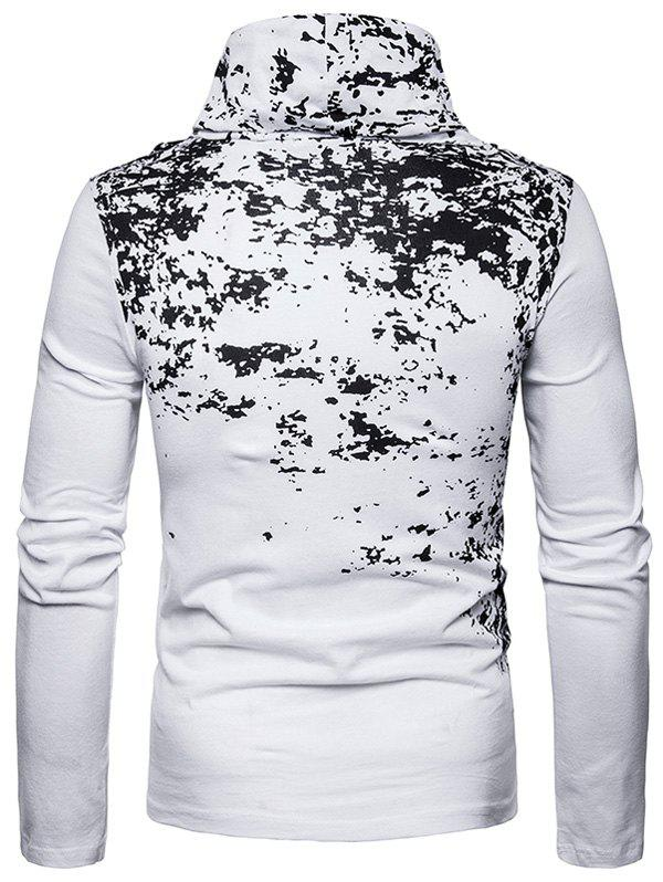 Cowl Neck Splatter Paint Pleat T-shirt - Blanc 2XL