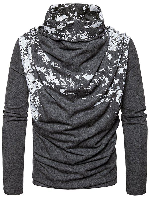 Cowl Neck Splatter Paint Pleat T-shirt - gris foncé M