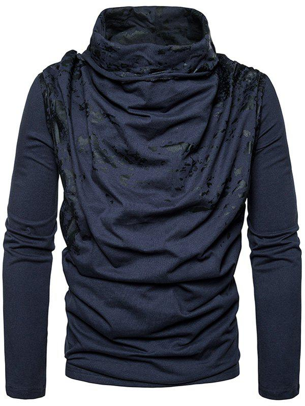 Cowl Neck Splatter Paint Pleat T-shirt - Bleu Cadette XL