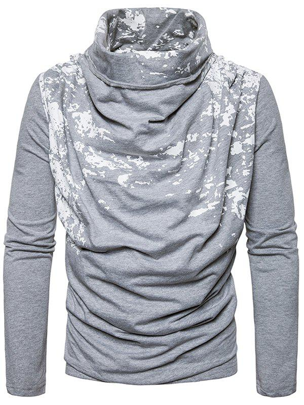 Cowl Neck Splatter Paint Pleat T-shirt - Gris Clair L