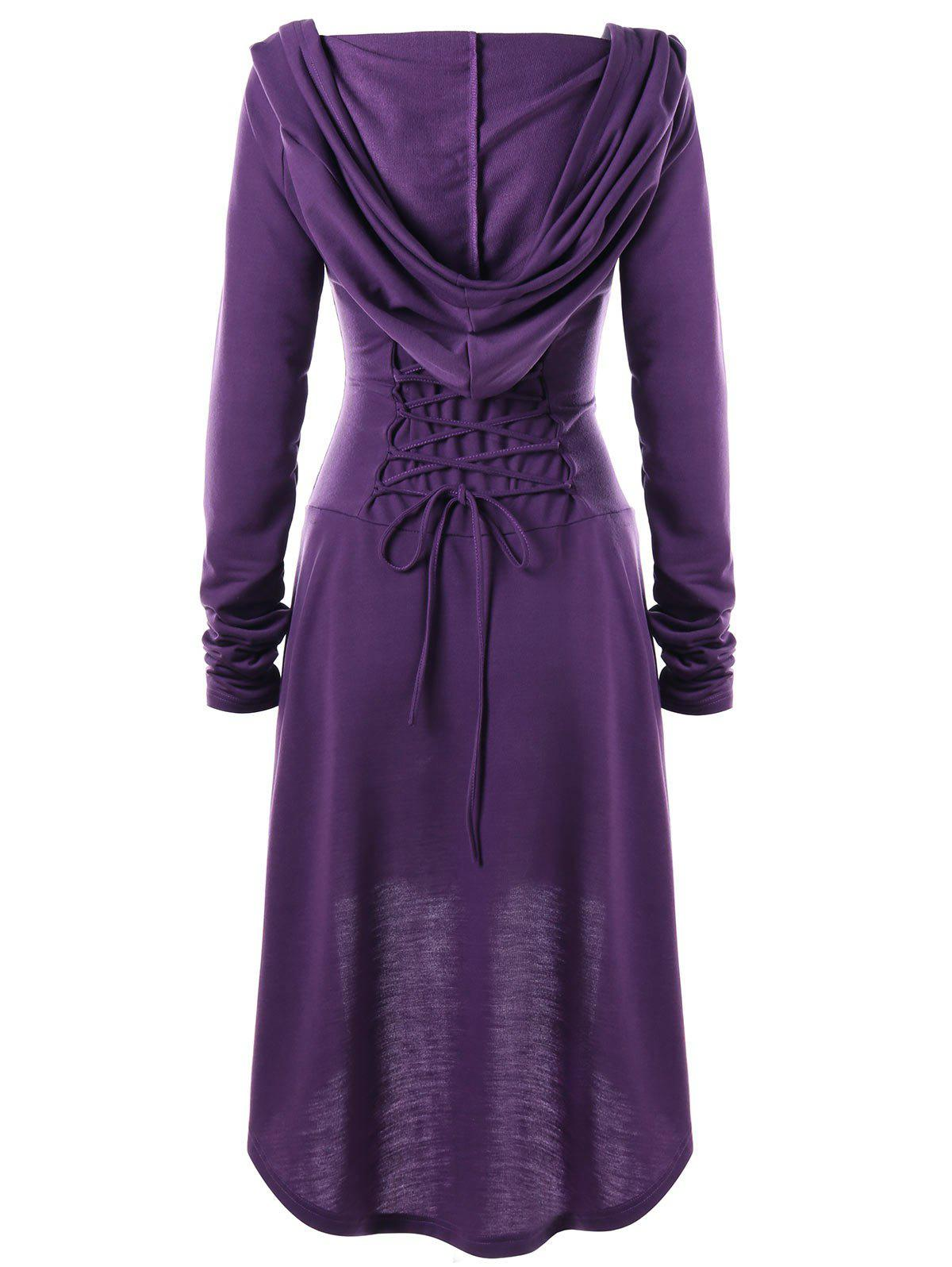 Lace Up Hooded High Low Dress - PURPLE M