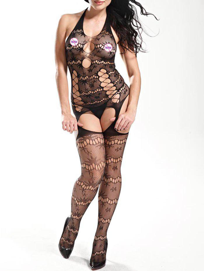 Halter Fishnet Garter Bodystockings - BLACK ONE SIZE