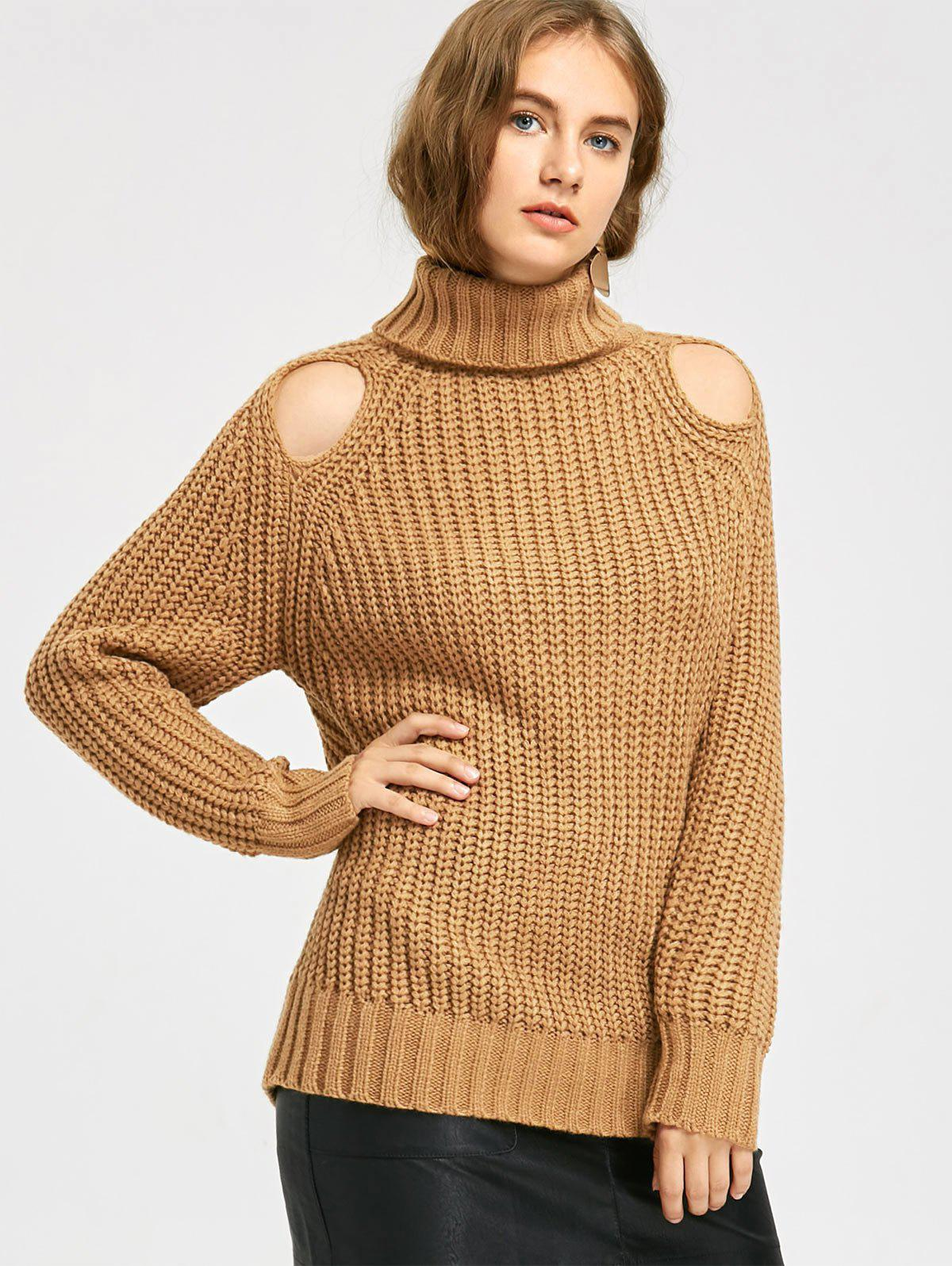 2018 Turtleneck Cut Out Chunky Sweater LIGHT COFFEE ONE SIZE In ...