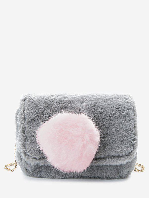Pompom Chain Crossbody Bag - Gris