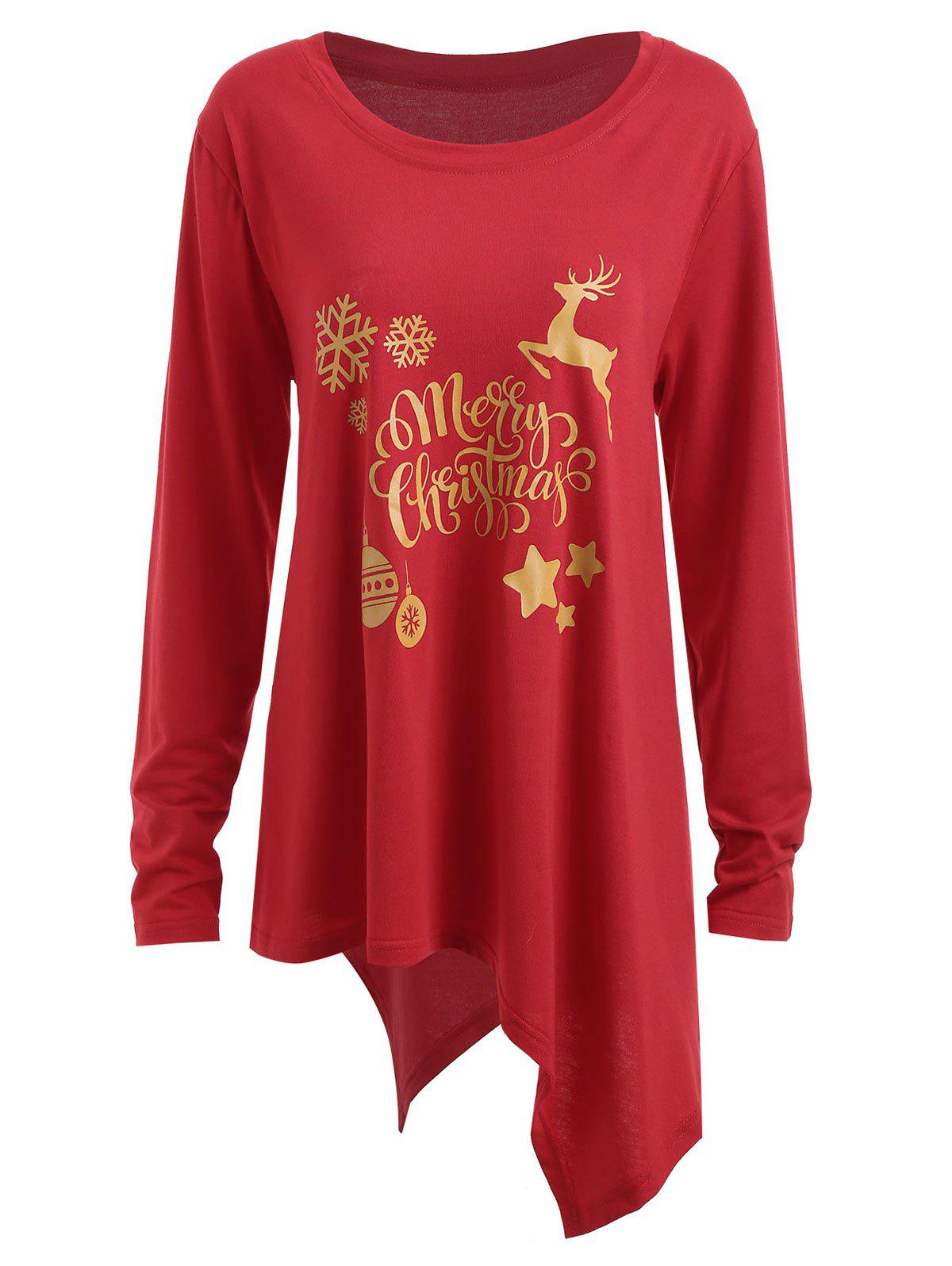 plus size christmas deer bell graphic asymmetric t shirt red xl