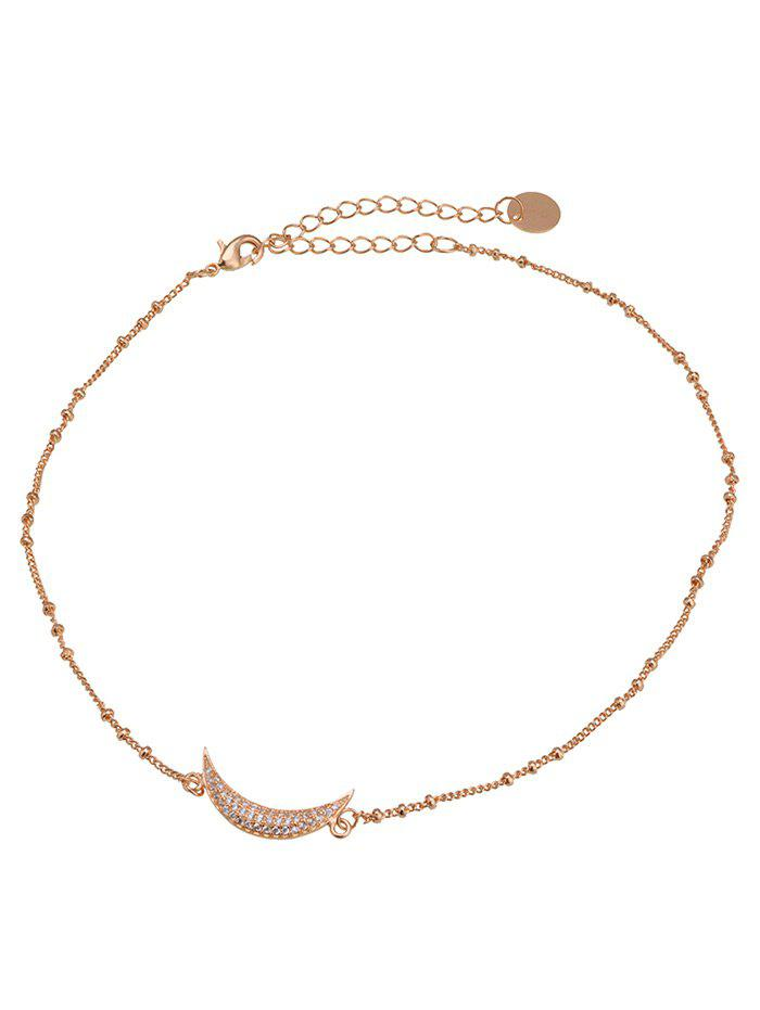 Moon Round Chain Design Choker Necklace - GOLDEN