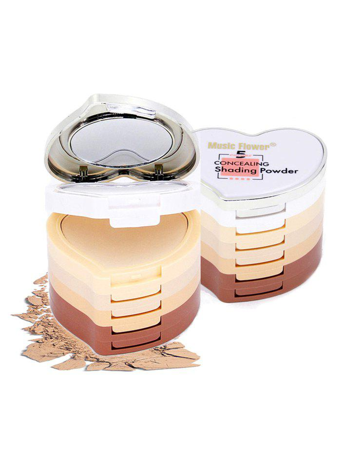 5 Colors Layered Heart Shaped Concealing Shading Powder - PINK