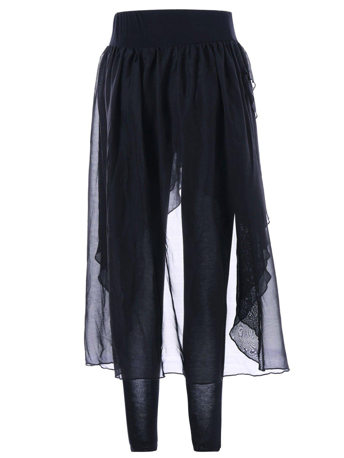 Irregular Chiffon Skirted Leggings - BLACK M
