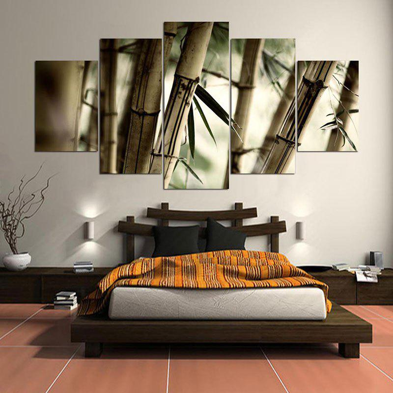 Bamboos Patterned Wall Art Unframed Canvas Paintings - CLOVER 1PC:8*20,2PCS:8*12,2PCS:8*16 INCH( NO FRAME )