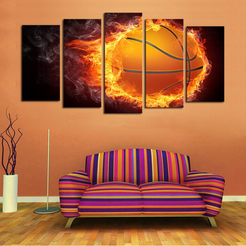 Fire Football Pattern Unframed Canvas Paintings - COLORFUL 1PC:12*31,2PCS:12*16,2PCS:12*24 INCH( NO FRAME )
