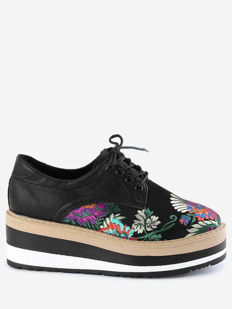 Flower Lace Up Wedge Shoes - BLACK 38