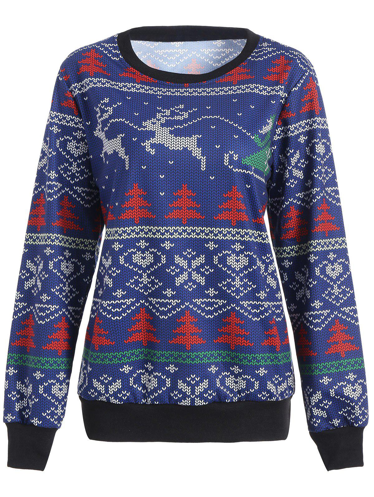 Elk Tree Printed Crew Neck Christmas Sweatshirt christmas elk printed crew neck sweatshirt