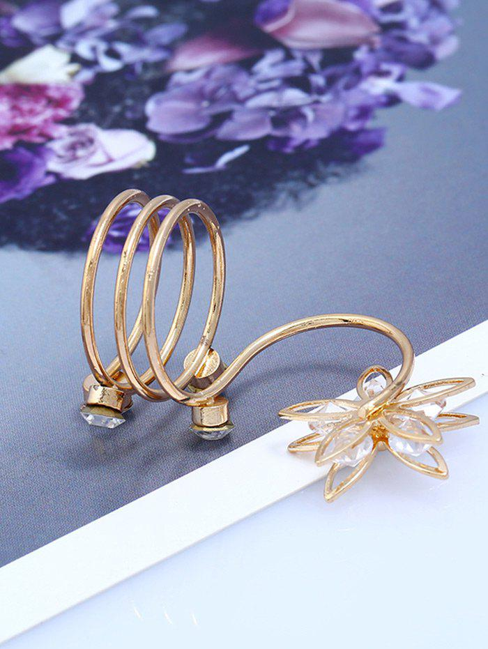 Rhinestone Flower Full Finger Ring - GOLDEN