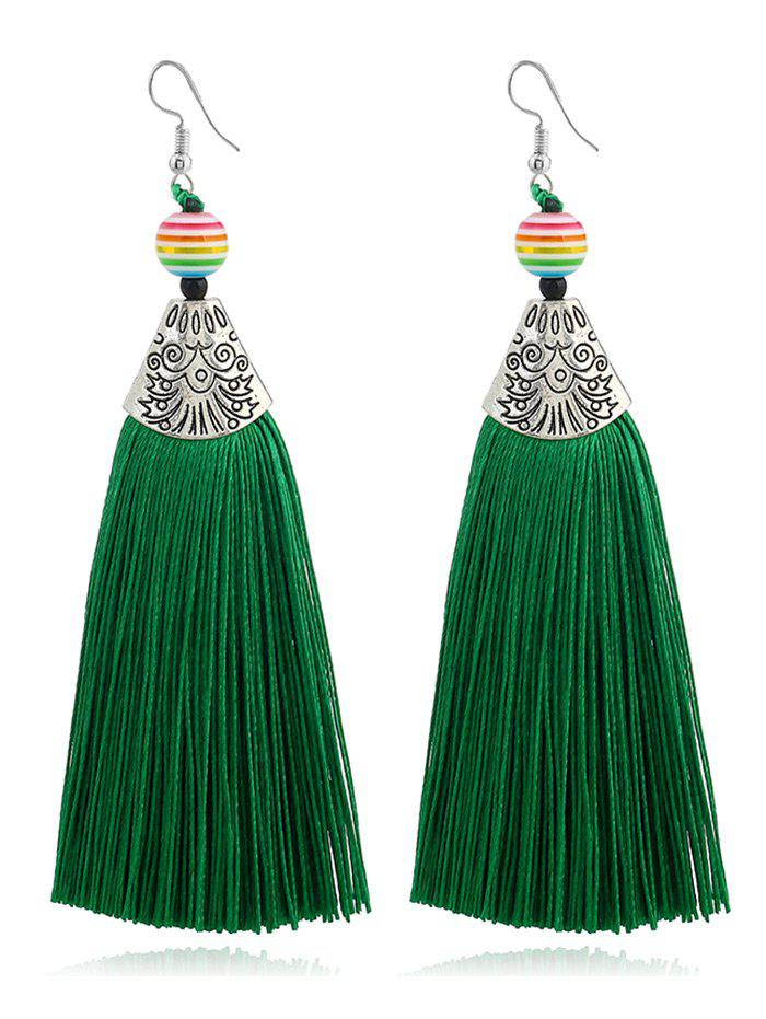 Bohemia Beaded Tassel Design Hook Earrings - Vert